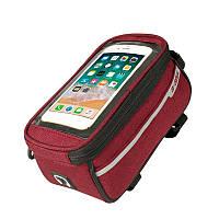 """Сумка велосипедная B-Soul Premium на раму, для телефона до 6.5"""", красная, фото 1"""