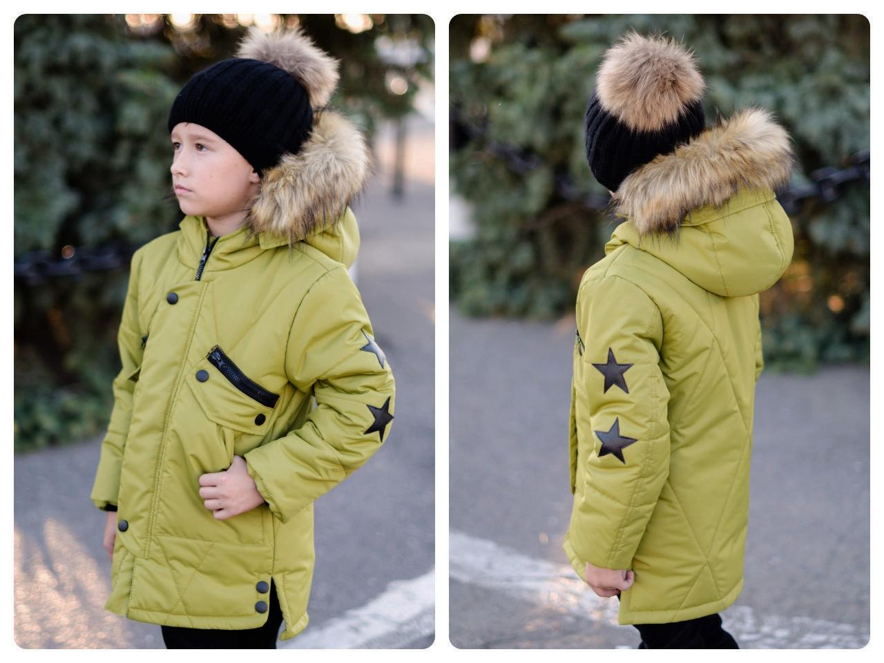 Детская зимняя куртка удлиненная с красивым мехом на капишоне