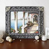 Панно настенное декоративное Итальянский дворик цветной в раме, фото 1
