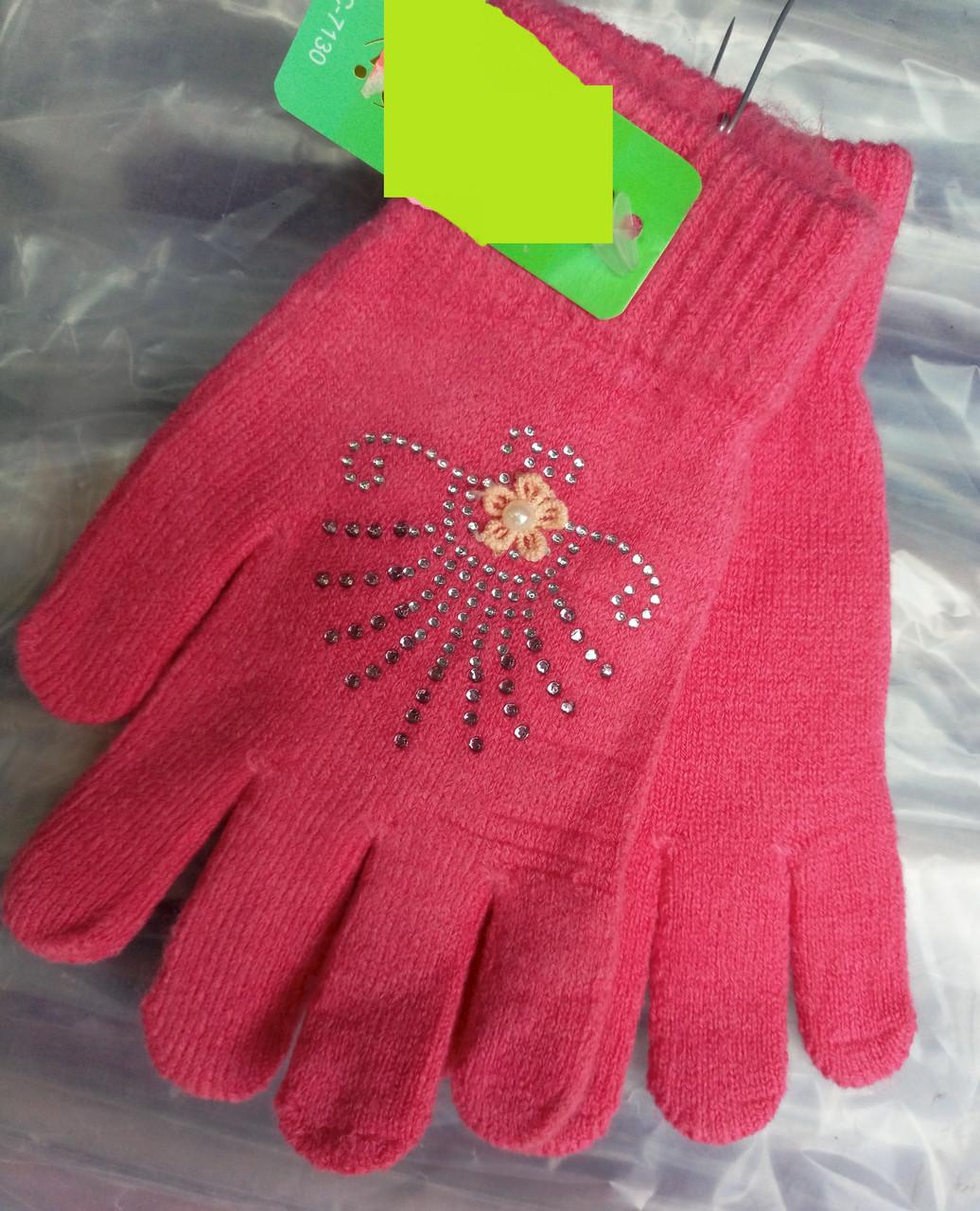 Перчатки с камушками подростковые для девочек
