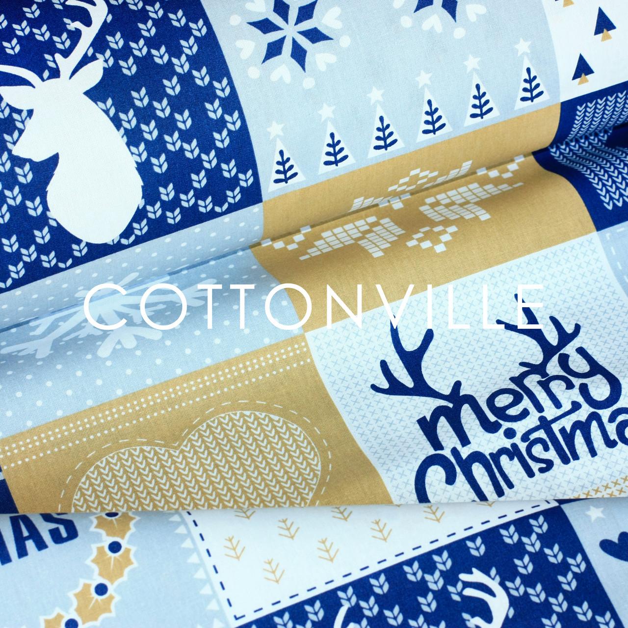 ✁ Отрезы бязи Рождество пэчворк горчично-синяя