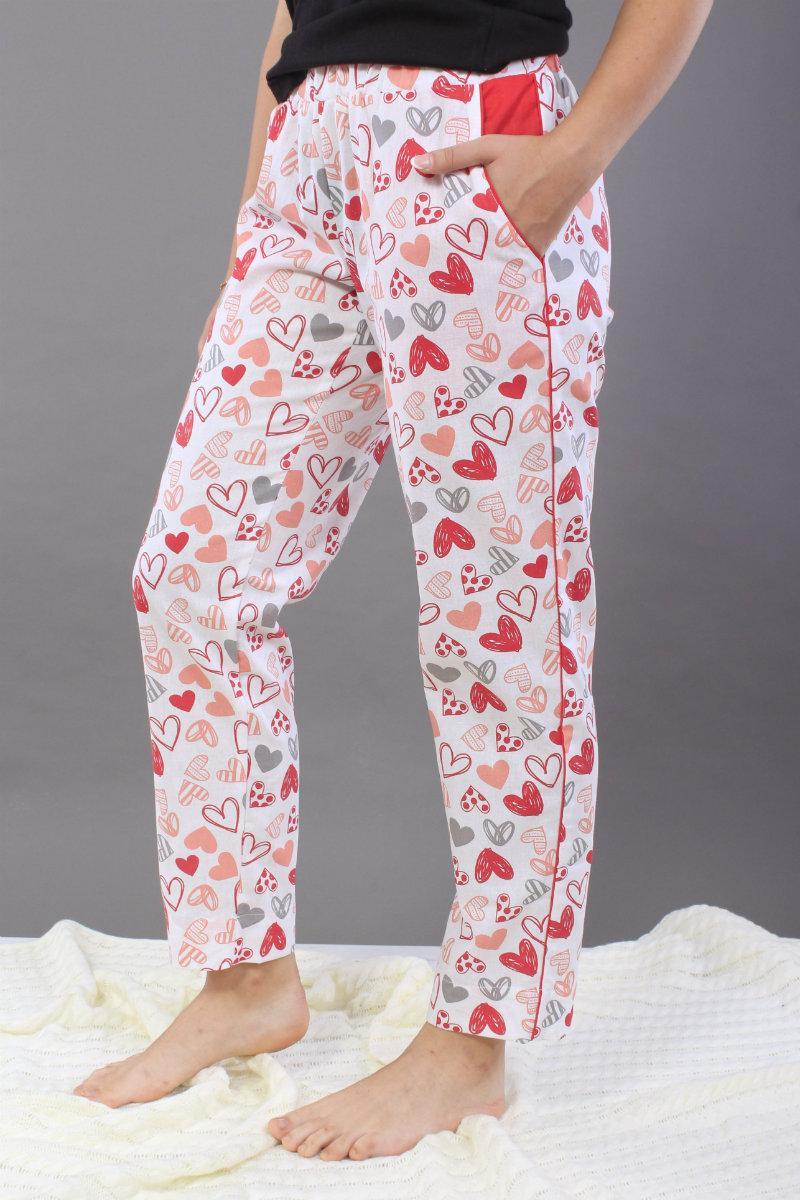 Штани домашні, бавовна. Білі в червоні сердечка. Штаны домашние, хлопок, S, M, L. Белые в красные сердечки. M/L