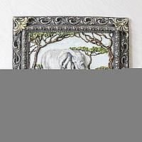Панно настенное декоративное Семья слонов цветное в раме