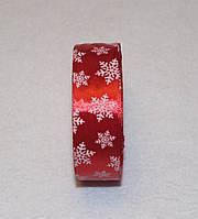 Стрічка атласна Новорічна сніжинка 2,5 см 16103, фото 1