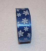 Стрічка атласна Новорічна сніжинка 2,5 см 16104, фото 1