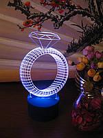 Ночник Кольцо с бриллиантом, лампа 3d светильник, несколько разных подсветок