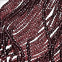 "Бусины темно сиреневое прозрачное стекло ""рондель"" d-3,5х3мм L-40см"