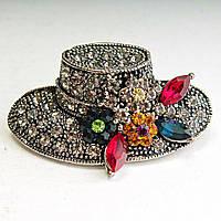 [30 мм] Брошь темный металл Женская шляпа, украшенная цветами с яркими стразами
