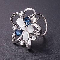 """Держатель для косынок """"Цветок"""" кошачий глаз, синие кристаллы цвет металла серебро d-4см"""