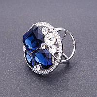 Держатель для косынок с синими камнями d-3,5см