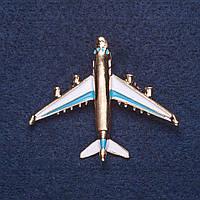 """Брошь """"Самолет"""" белая и голубая эмаль цвет металла золото 4х5см"""