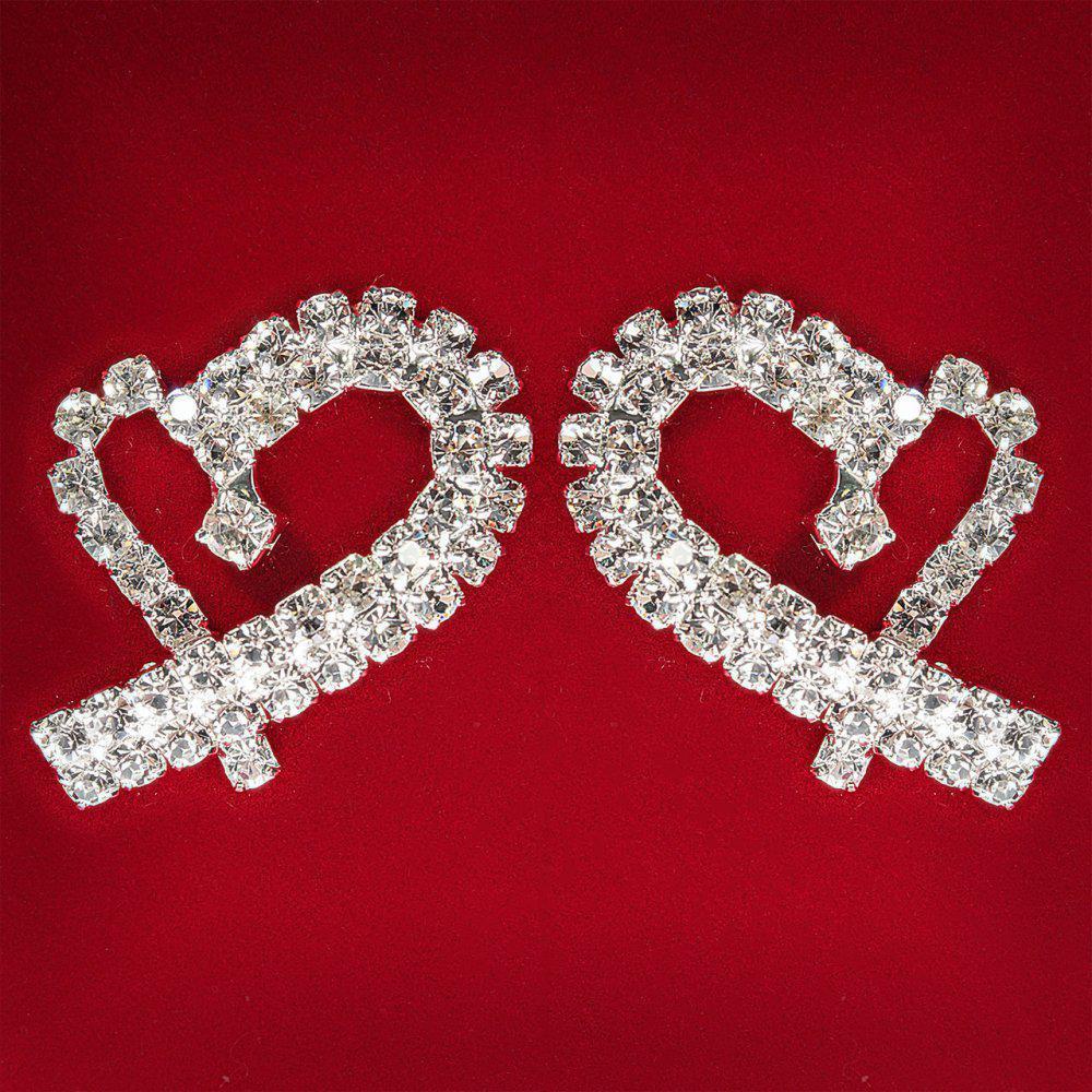 e26d2f5fda2e  30 мм  Серьги женские белые стразы светлый металл свадебные вечерние  гвоздики (пусеты ) сердце модерн средние
