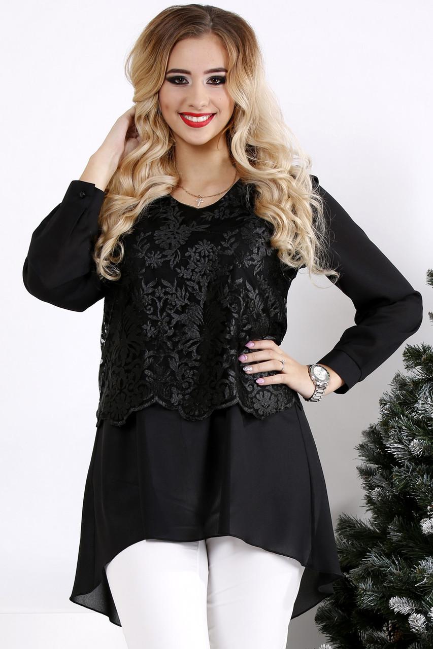 Черная свободная блузка больших размеров