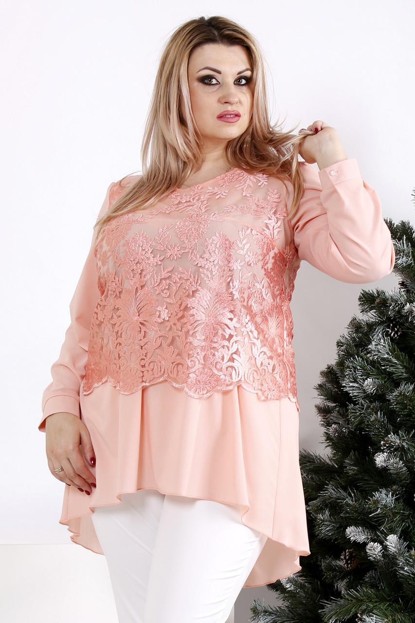 Персиковая нарядная блузка больших размеров