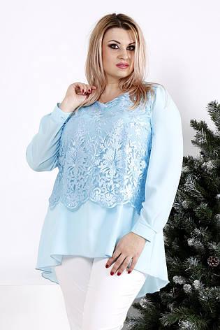 75a98976865 Голубая нарядная блузка для полных женщин 0952  750 грн. Купить в ...