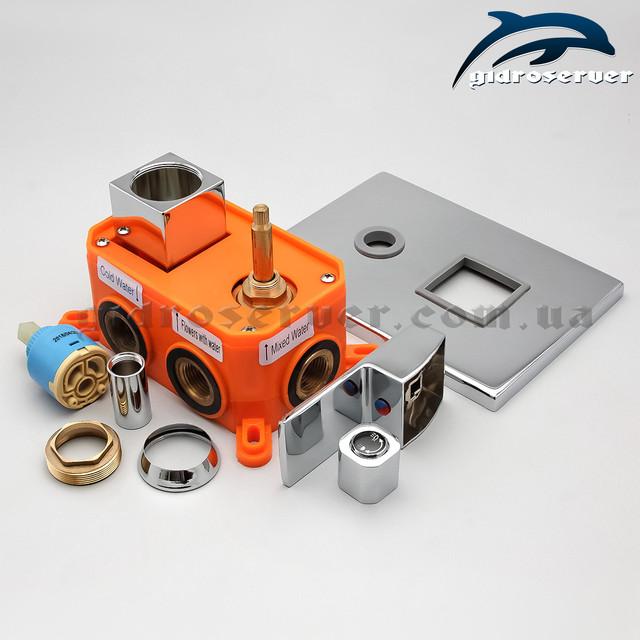 Встраиваемый смеситель для скрытого монтажа KVB-03 с переключателем на 3 режима для комплектации душевых систем, гарнитуров, душевых программ.
