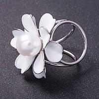 """Держатель для косынок """"Цветок"""" белая эмаль цвет металла серебро d- 3см"""