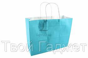 ОПТ/Розница Подарочный пакет однотонный горизонтальный (голубой)