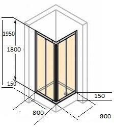 Квадратні душові кабіни 80х80