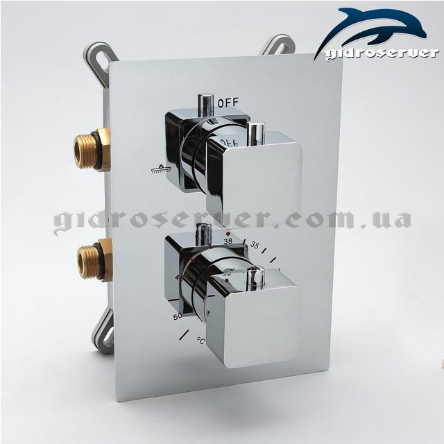 Термостатический смеситель скрытого монтажа KVTB-02 на два режима работы дивертора-переключателя.