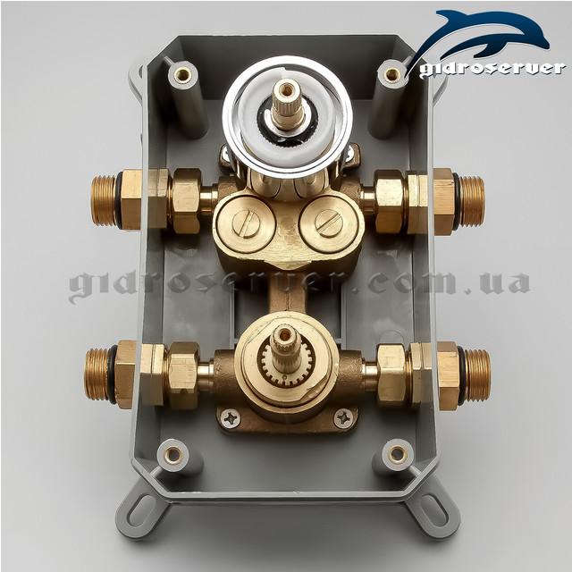 Смеситель скрытого монтажа термостатический KVTB-02 с монтажным боксом для душевых систем, гарнитуров, программ.