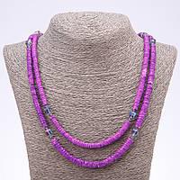 Бусы пляжные фиолетовые из ракушки Скафарки L-120см