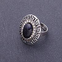 """Кольцо Авантюрин """"синий песок"""" оправа """"греческая"""" 2,8*2,4см овальный камень без р-р"""