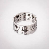 "Кольцо ""Обручка"" р-р 17-21 под ""серебро"" римские цифры h-4мм"