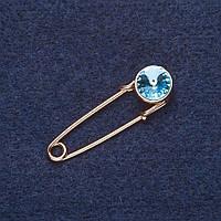 Брошь булавка Голубой кристалл цвет металла золото 3,5х1см