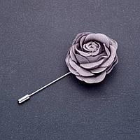 Брошь булавка цветок Роза из ткани серая L-8см d- 45мм