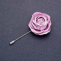 Брошь булавка цветок Роза из ткани сиреневая L-8см d- 45мм
