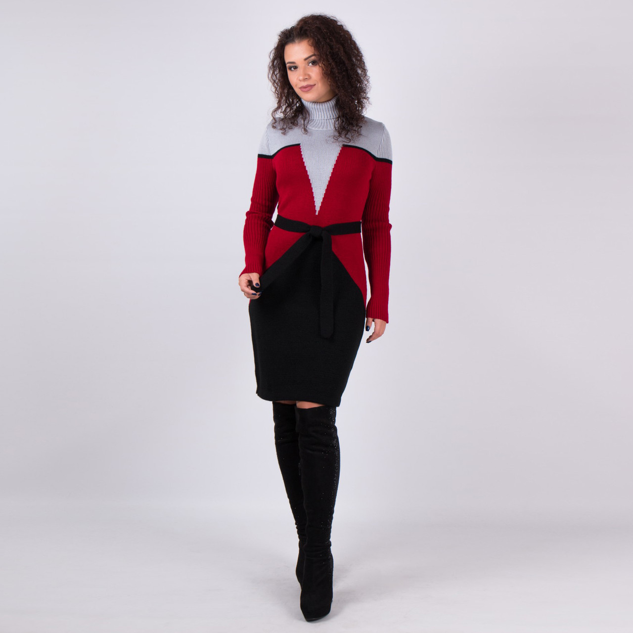 Вязаное женские платье Корсет серый - вишня - черный