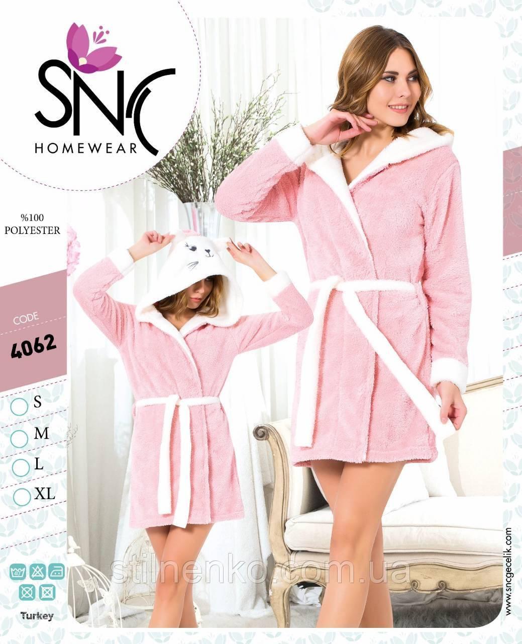 Жіночий теплий халат SNC з капюшоном