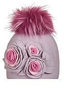 Шапка для девочки с цветами ручной работы Карина, фото 1