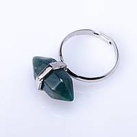 Кольцо натуральный камень Моховый Агат шестигранник 9х19мм