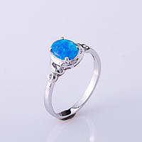 "Кольцо ""Голубой Опал"" р-р 17-19 серебристый металл"