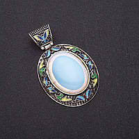 """Кулон """"под старину"""" Лунный камень цветная эмаль L-8см d-5,5х5см серебристый металл"""