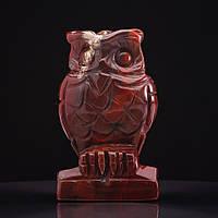 Статуэтка Сова натуральный камень Яшма красная H-8см