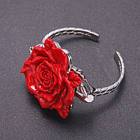 Браслет скоба Роза красная обхват 18см d-50мм