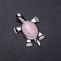 Кулон Черепашка Розовый кварц 2,5х1,8см L-5см