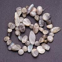 """Бусины из натурального камня Лабрадор галтовка """"бабочка"""" d-8-12(+-)мм нитка L-39см"""