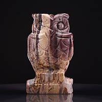 Статуэтка Сова натуральный камень Яшма пейзажная H-8см
