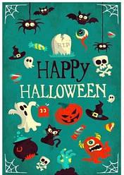 """Вафельная картинка для торта """"Halloween"""", прямоугольная (лист А4, толщина 0,3 мм)"""