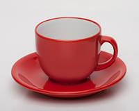 Чашка кофейная с блюдцем красно-белая под нанесение лого