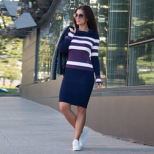 Вязаное женские платье по фигуре Памела синий - сирень - белый