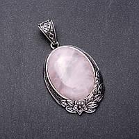 Кулон Розовый кварц в оправе под старину цветочная рамка 4х3см 6х4см L-7,5см