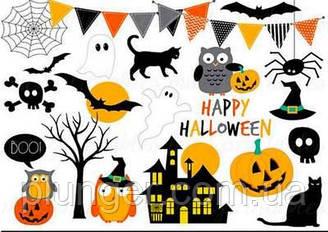 """Вафельная картинка для пирожных, кексов, пряников, на топперы """"Halloween"""", (лист А4)"""