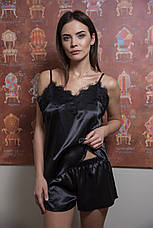 Черный комплект-пижама  майка и шортики, фото 2
