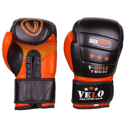 Боксерські шкіряні рукавички Velo shock padding (10oz, чорно-помаранчевий)