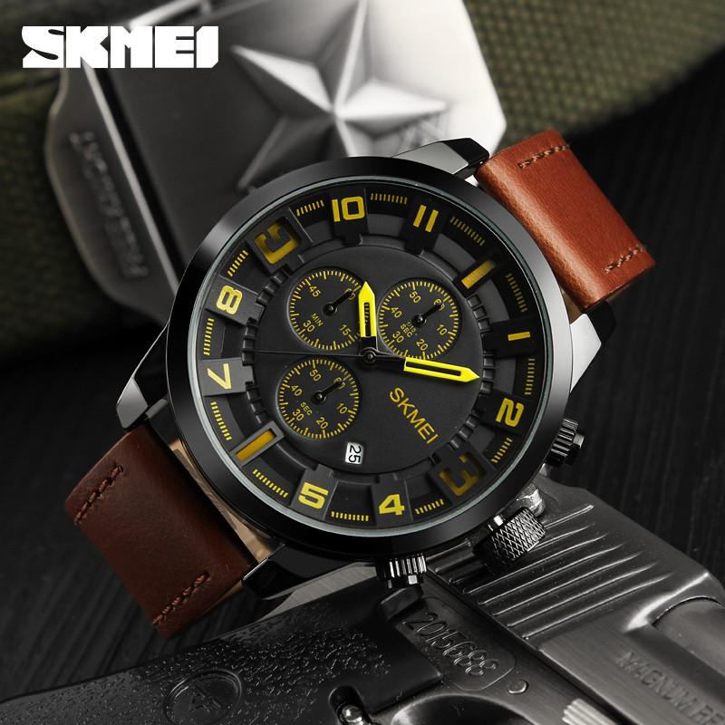 Skmei 1309 Классические мужские часы  коричневые с желтыми стрелками